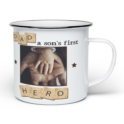 Personalised Dad, A Son's First Hero Novelty Enamel Mug - White